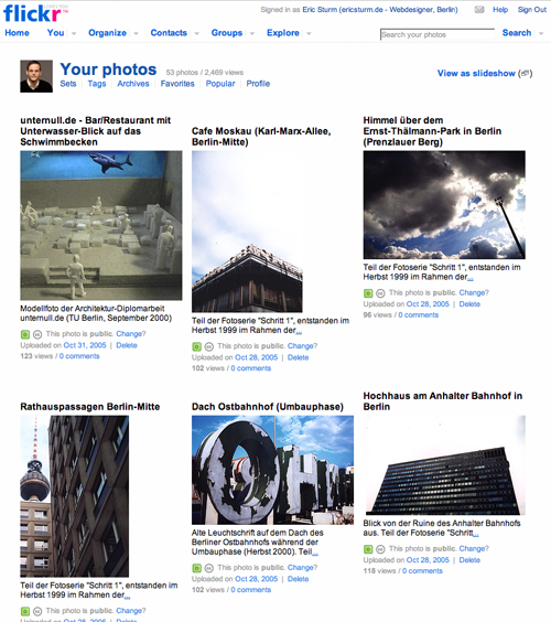 Screenshot: flickr-Fotos von Eric Sturm