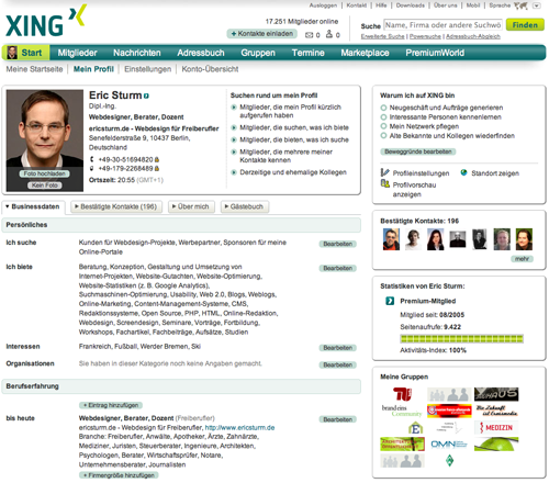 Screenshot: Die Profil- bzw. Kontaktseite von Eric Sturm