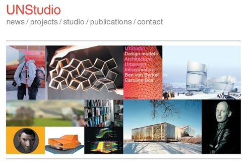 Bildermosaik auf der Startseite von unstudio.com