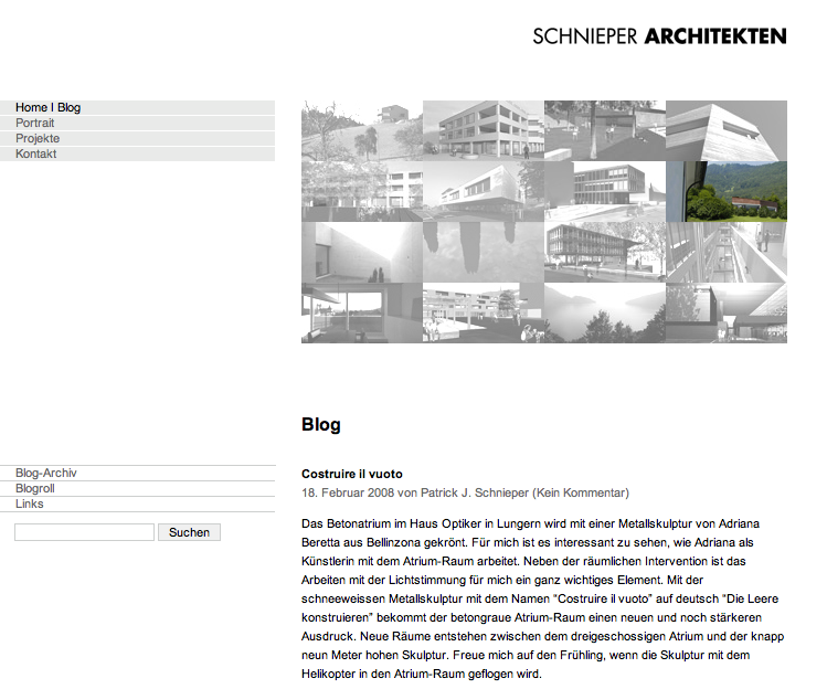 Screenshot des Blogs von schnieperarchitekten.ch