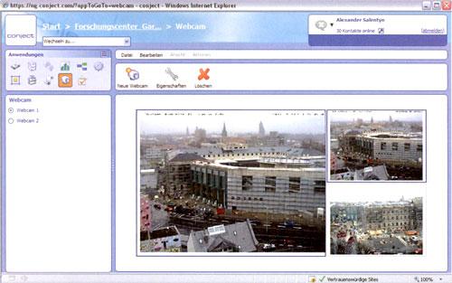 Webcams, die den Baufortschritt dokumentieren, sind sinnvoller Bestandteil einer Projektplattform (im Bild ein Beispiel der conject AG)