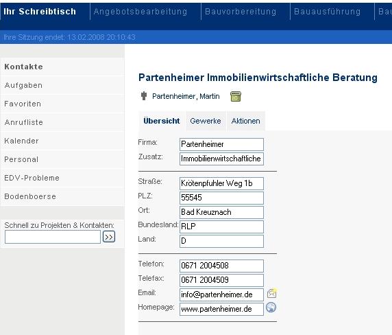 """Screenshot des """"Digitalen Baubüros"""" (Ausschnitt)"""