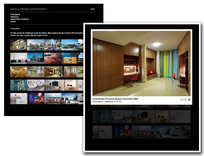 """Beispiel für den Einsatz der """"Lightbox"""" auf der Büro-Website der Architektin Angela Fritsch aus Darmstadt."""