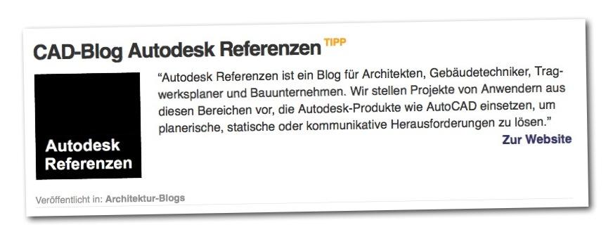 Beispiel: Hervorgehobener Verzeichniseintrag (Autodesk Blog)