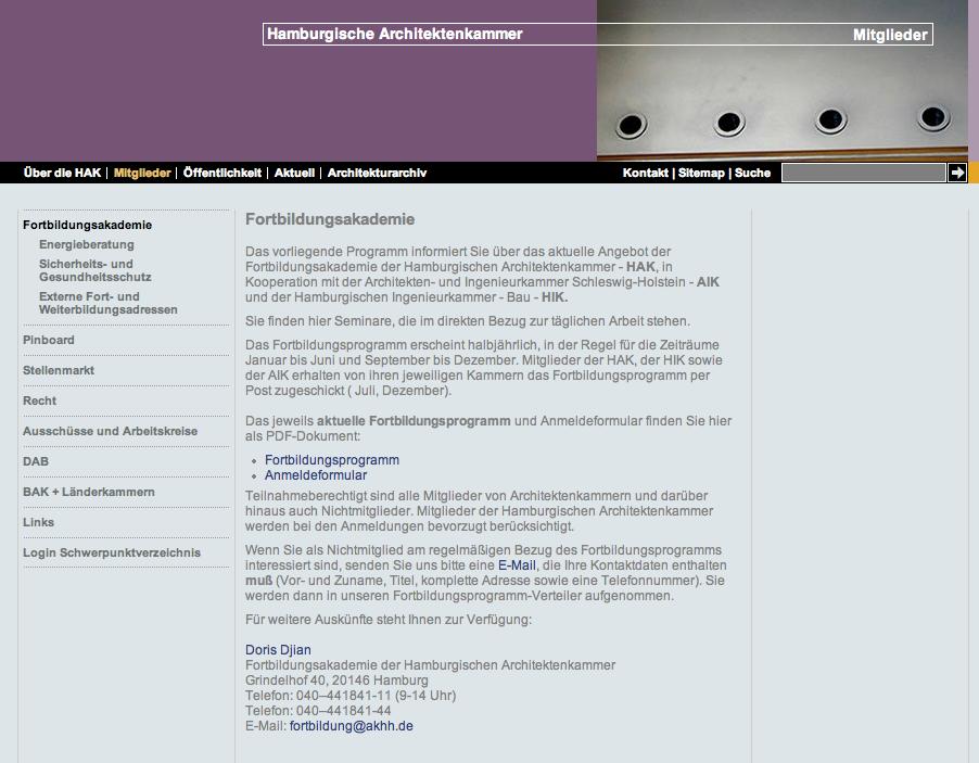 Website der Fortbildungsakademie der Hamburgischen Architektenkammer