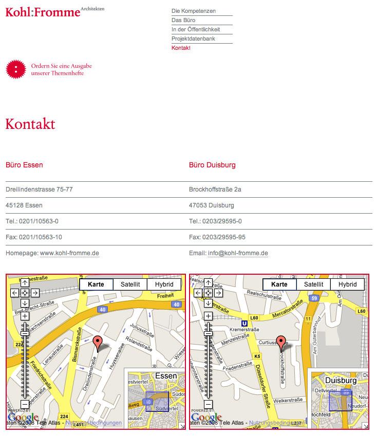 Sehr gut gelöst: die Kontaktseite von Kohl:Fromme