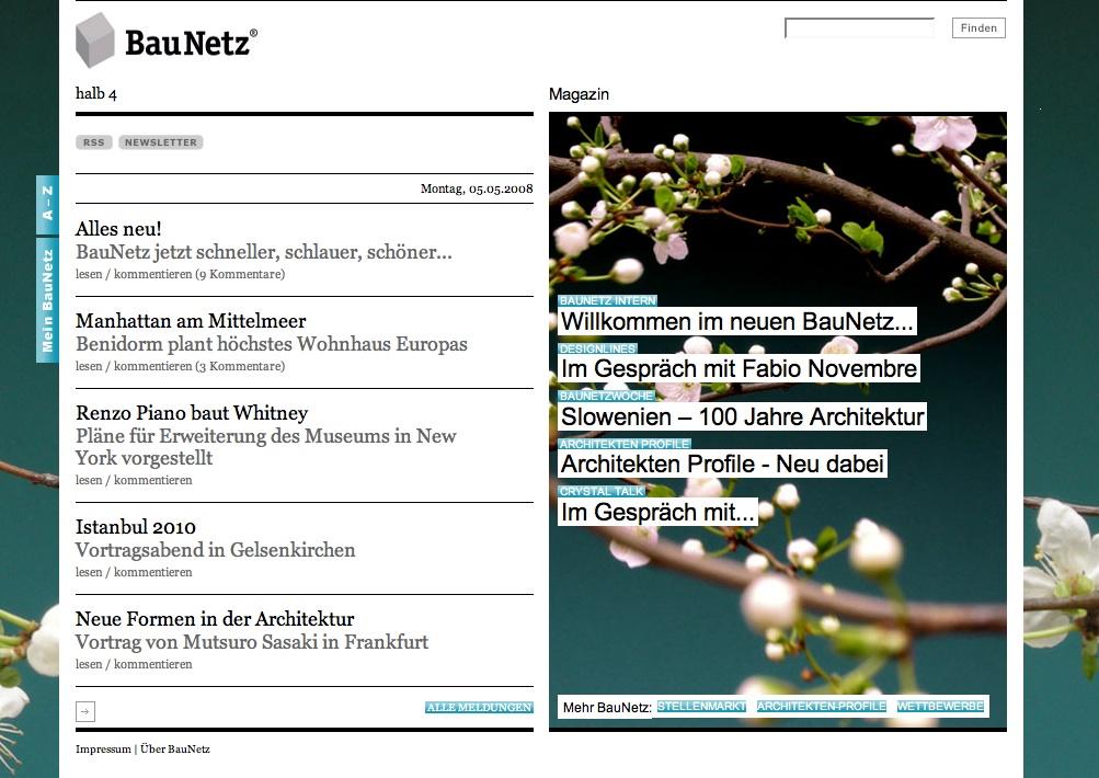Screenshot der neue BauNetz-Startseite