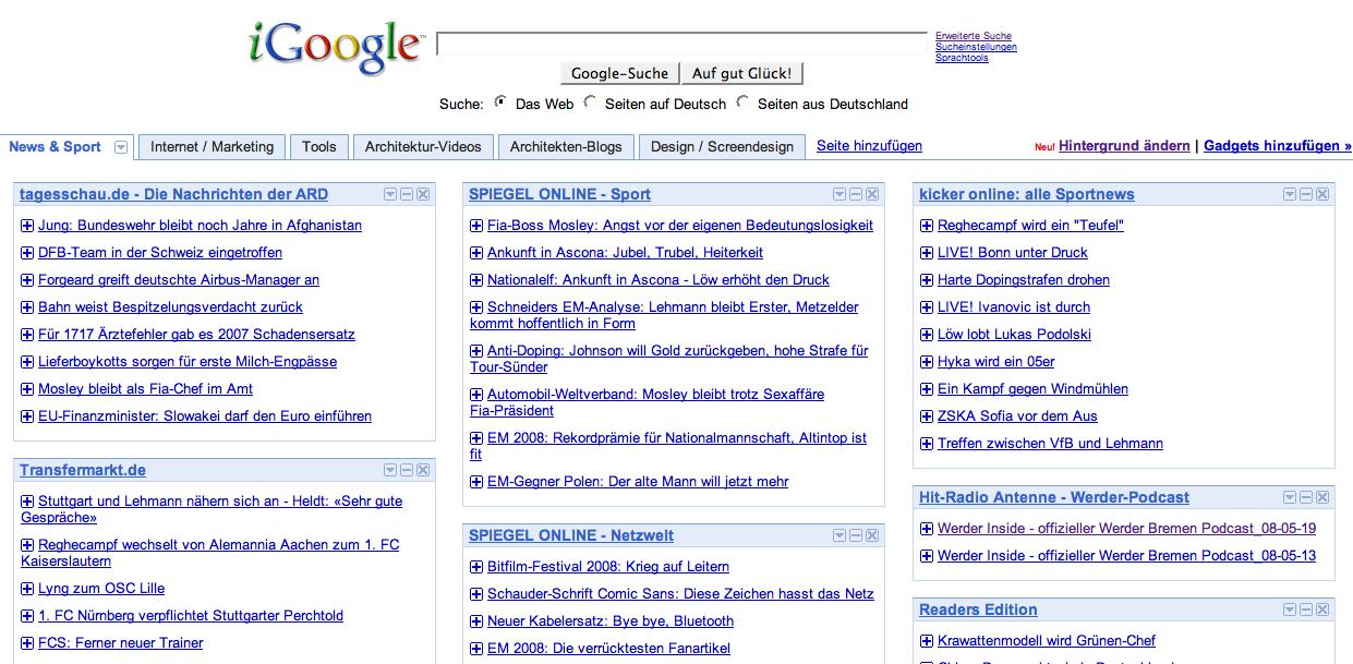 Screenshot: RSS-Feeds in iGoogle