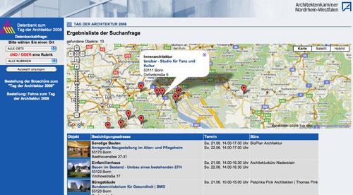 Screenshot: Projektauswahl mit Google Map auf aknw.de