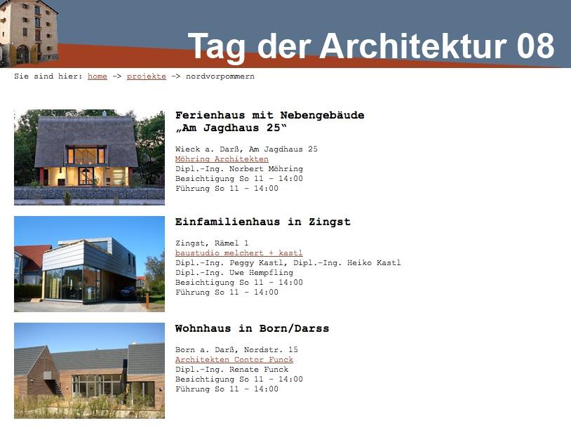 Screenshot: Projektpräsentation mit Bild, Adresse und Link auf den Seiten der AK Mecklenburg-Vorpommern