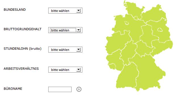 Screenshot (Ausschnitt): Büro-Suche auf arcvote.de