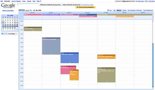 Screenshot: Der Online-Kalender von Google