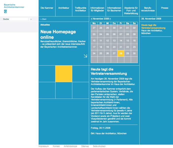Screenshot: Die neue Startseite auf byak.de