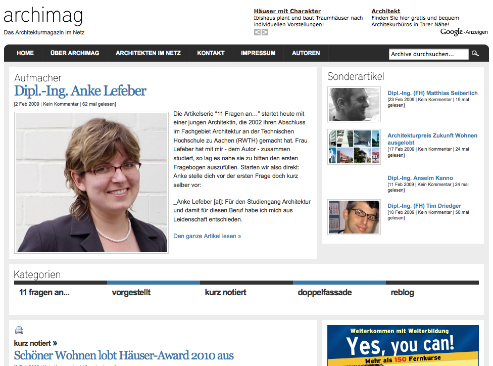 Screenshot von archimag.de