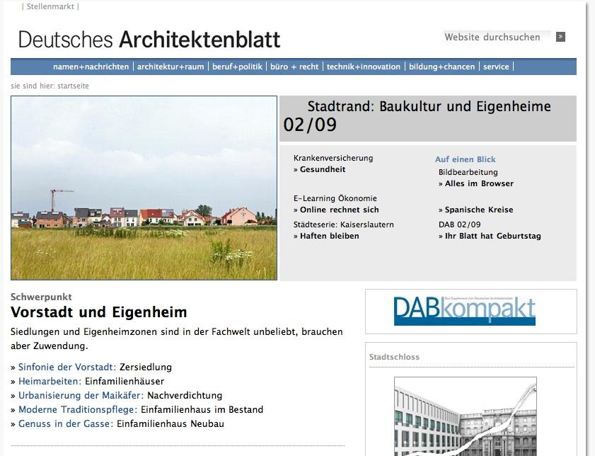 Screenshot: Das Deutsche Architektenblatt im Internet