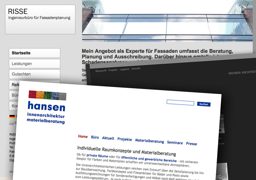 Architekten-Websites (Collage: ericsturm.de)