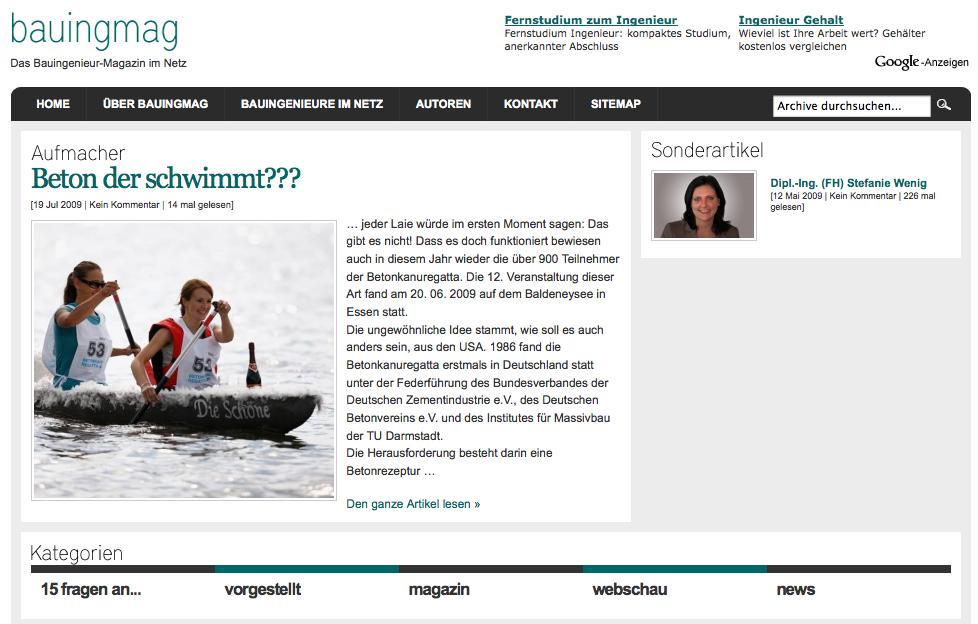 Screenshot von bauingmag.de