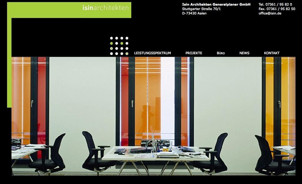 Screenshot: Die Startseite der Website von isin architekten