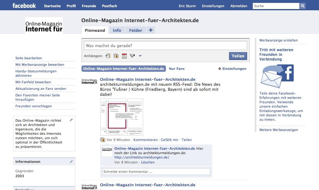 Screenshot: Die Facebook-Seite von 'Internet für Architekten'