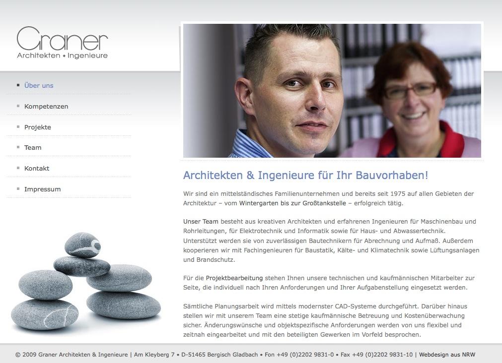 """Screenshot: Die Seite """"Über uns"""" von Graner Architekten"""