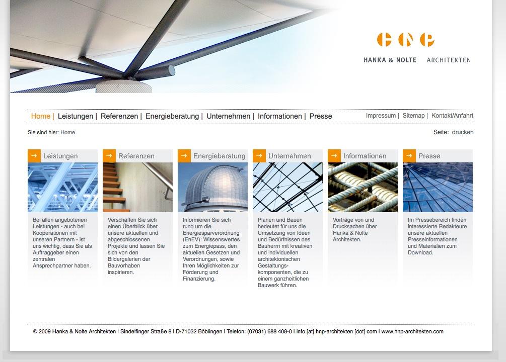 Screenshot: Die Startseite von HNP Architekten