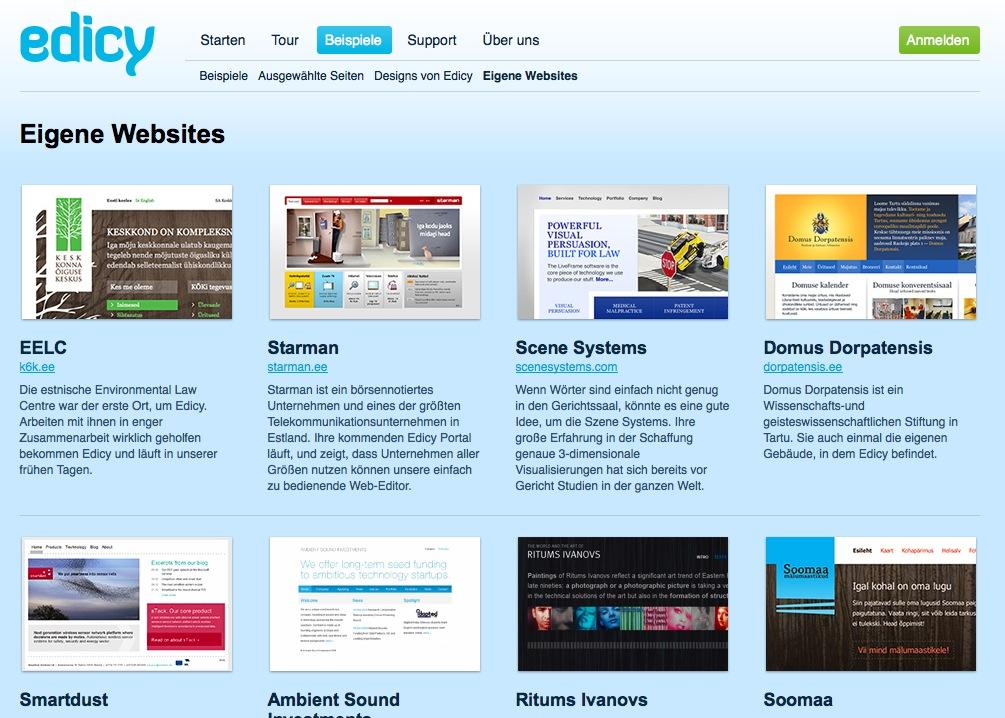 Screenshot: Design-Beispiele des Website-Baukasten-Anbieters Edicy