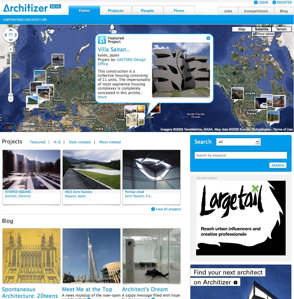 Screenshot der Startseite von architizer.com