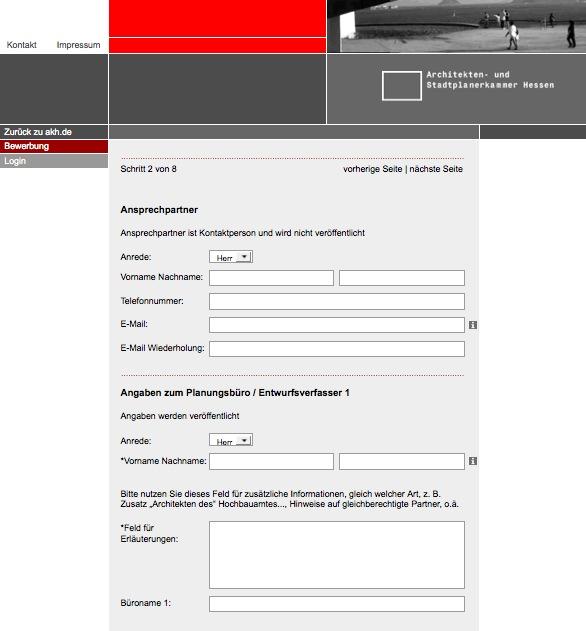 Online-Formular der Architektenkammer Hessen (Screenshot)