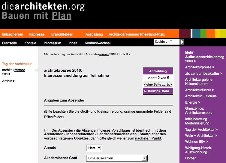 Online-Formular der Architektenkammer Rheinland-Pfalz (Screenshot)