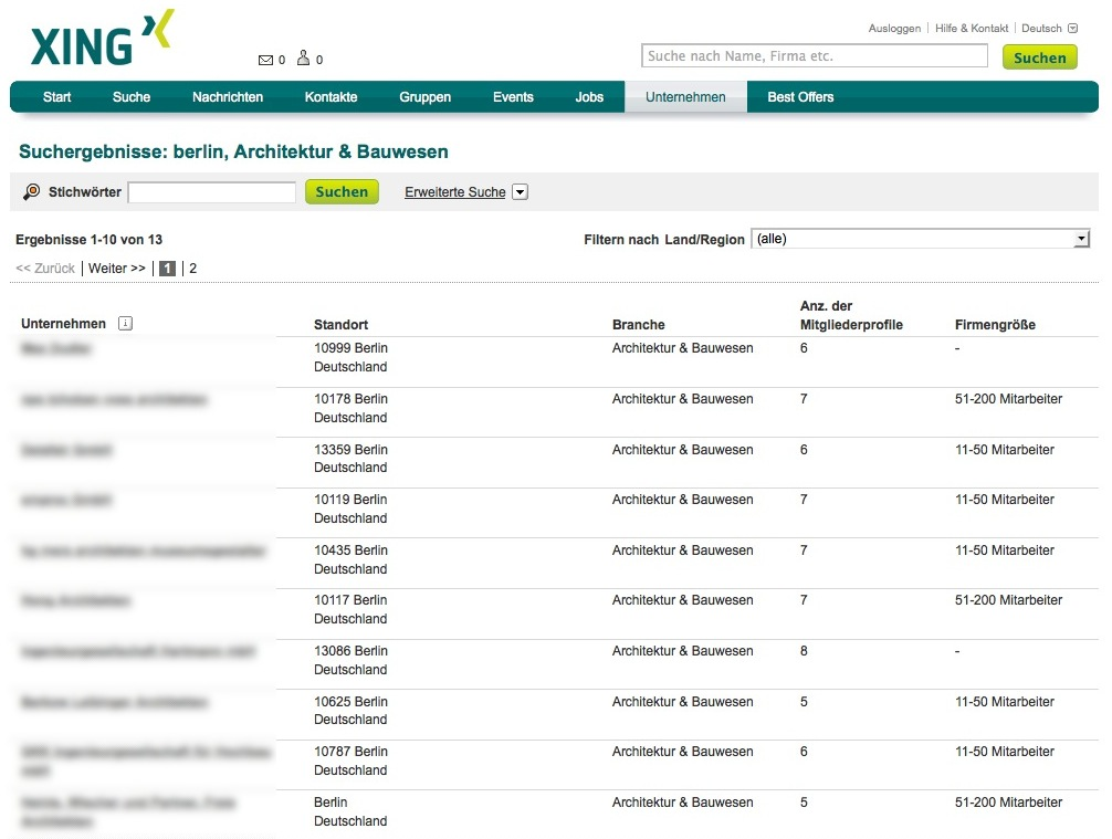 Screenshot: Eine Seite mit Suchergebnissen (Architekturbüros Berlin)
