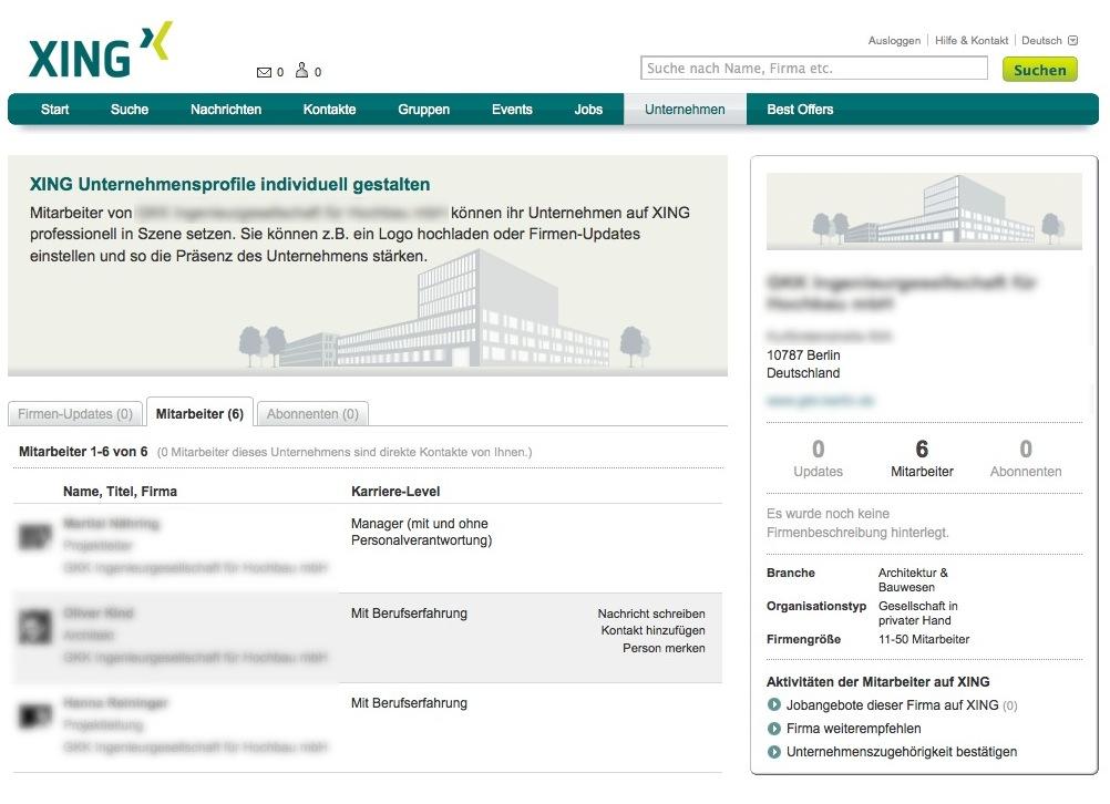 Screenshot: Beispiel für ein Architekturbüro in den Unternehmensprofilen (anonymisiert)