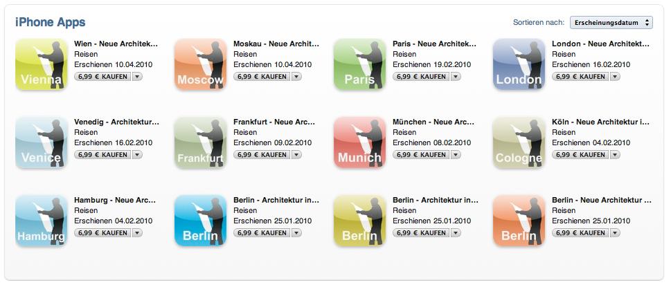 Screenshot: Architekturführer von Archimaps als iPhone-App, erhältlich im App-Store bzw. via iTunes
