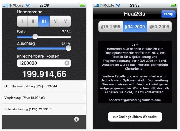 Screenshots: die HOAI-App hoai2go von Architekt Johannes Stumpf