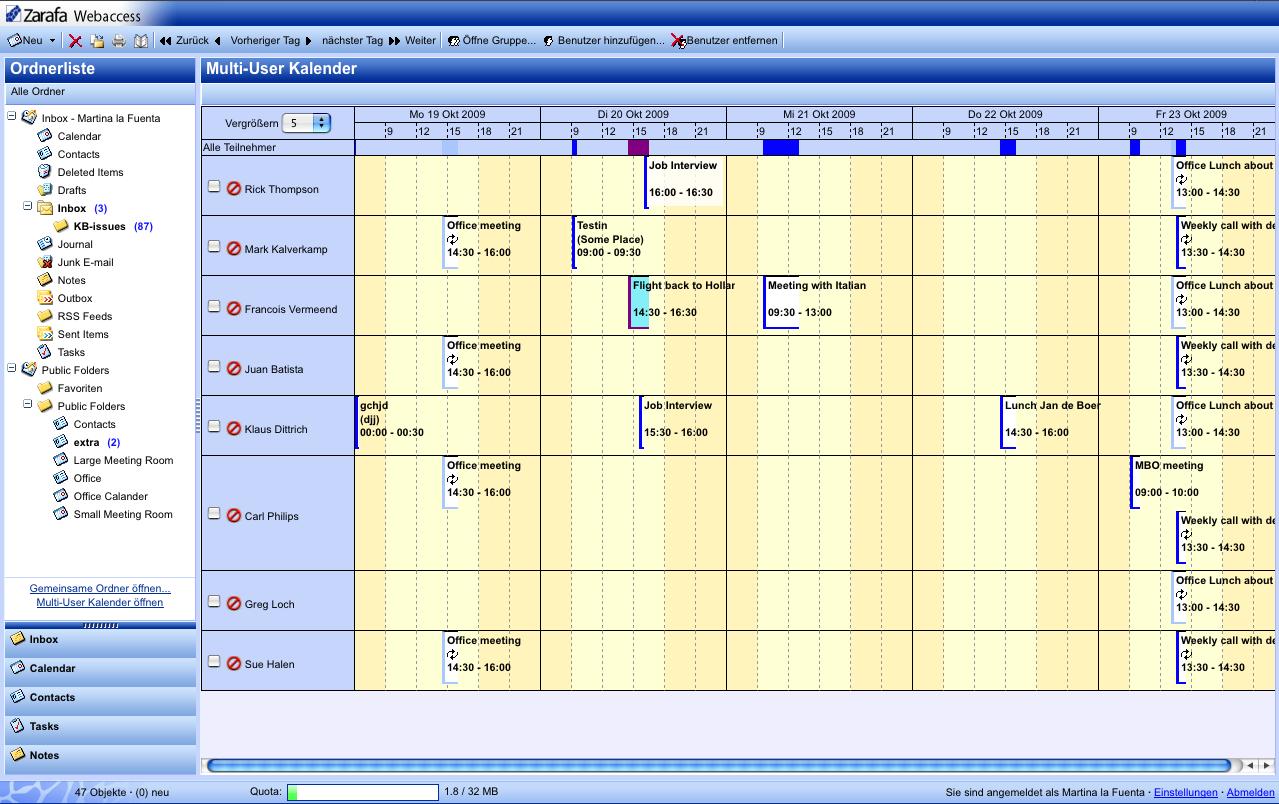 Alles im Blick mit dem Multi-User-Kalender im Zarafa Webaccess.