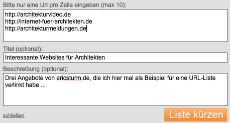 Screenshot: Eine URL-Liste erstellen mit i2h.de