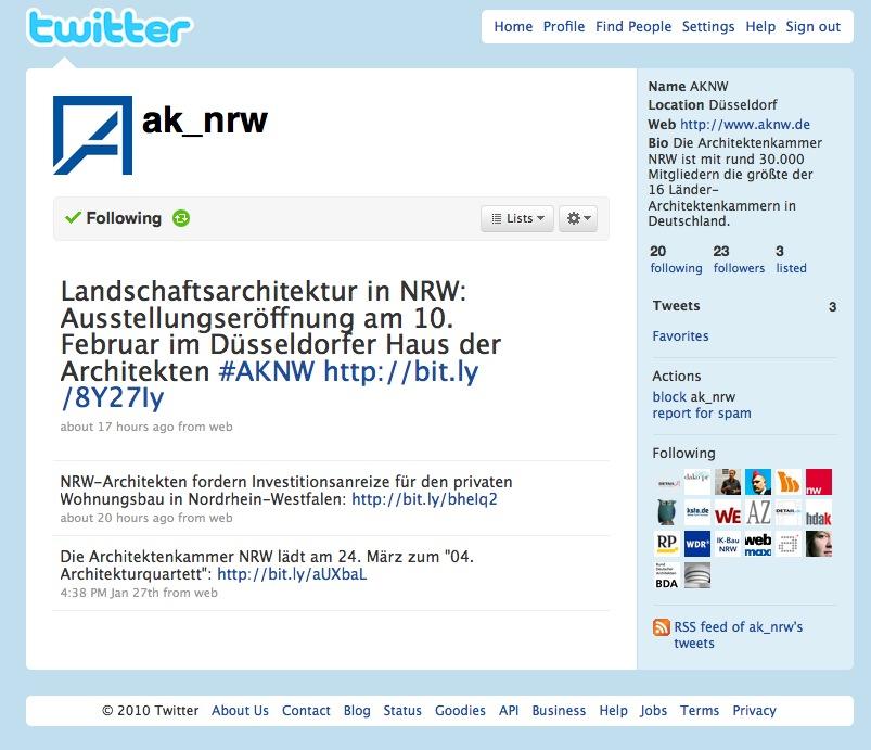 Screenshot der Twitter-Seite der AKNW
