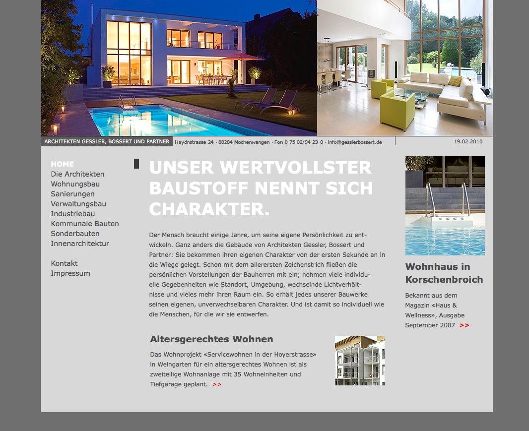 Screenshot: Die Startseite der Website von Gessler, Bossert und Partner