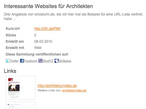 Screenshot: Die fertige URL-Liste auf i2h.de