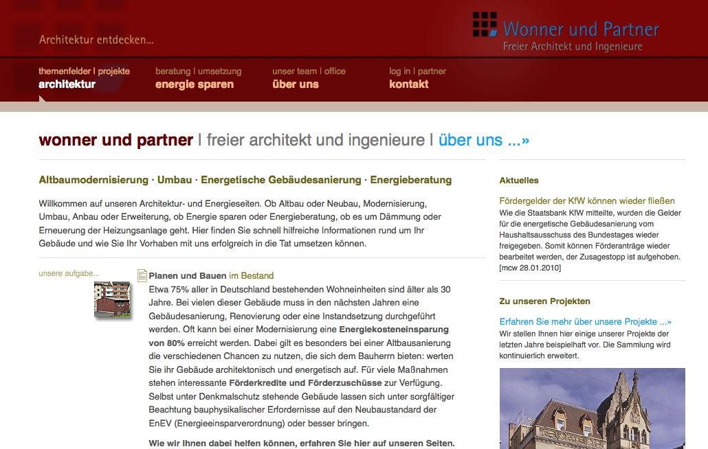 Screenshot der Website von Wonner und Partner, Stuttgart