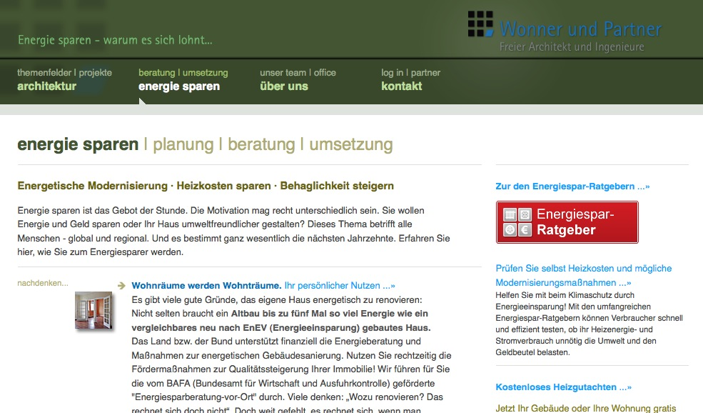 """Screenshot: Die Seite """"energie sparen"""" von Wonner und Partner"""