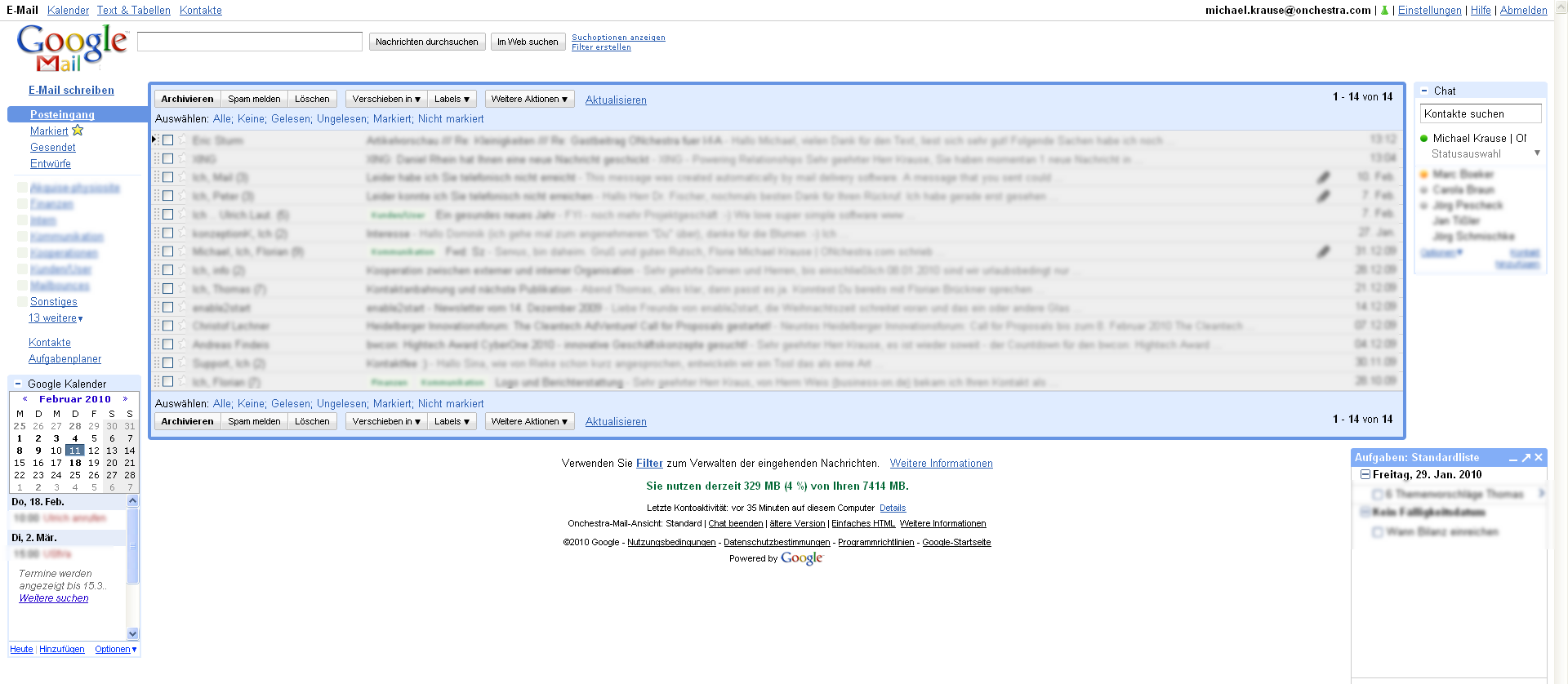 E-Mail, webbasiert: Die Oberfläche von Google Mail