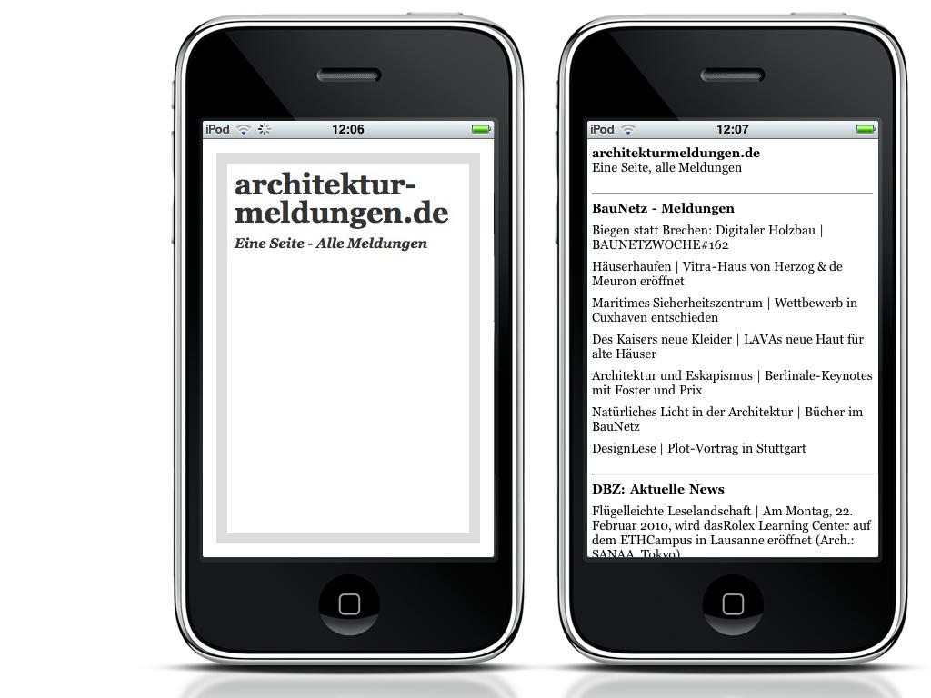 Screenshot: Die iPhone-App von architekturmeldungen.de