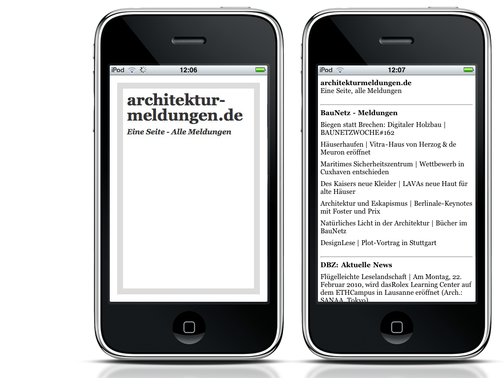 Screenshot: Die iPhone-App von architekturmeldungen.de