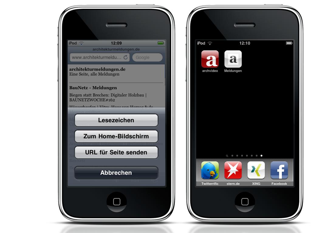 Screenshots oben: Die iPhone-App per + Button auf dem Home-Bildschirm ablegen