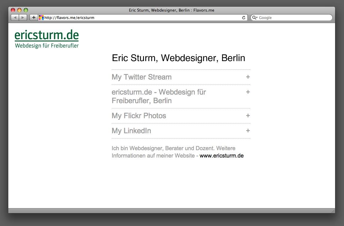 Beispiel: Die Flavors-Seite von Eric Sturm, Webdesigner aus Berlin
