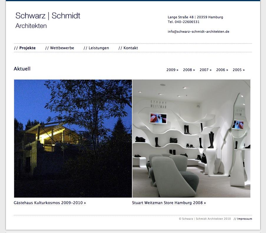 Die Startseite – Screenshot von www.schwarz-schmidt-architekten.de