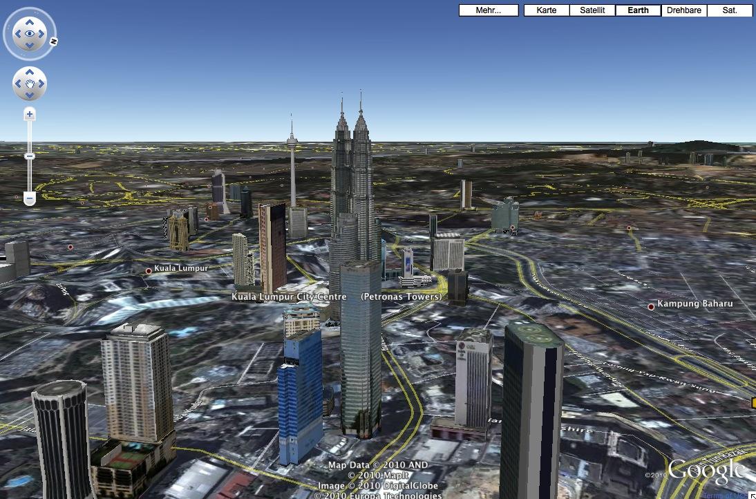 Screenshot: Google Earth-Funktionen sind nun auch in Google Maps verfügbar