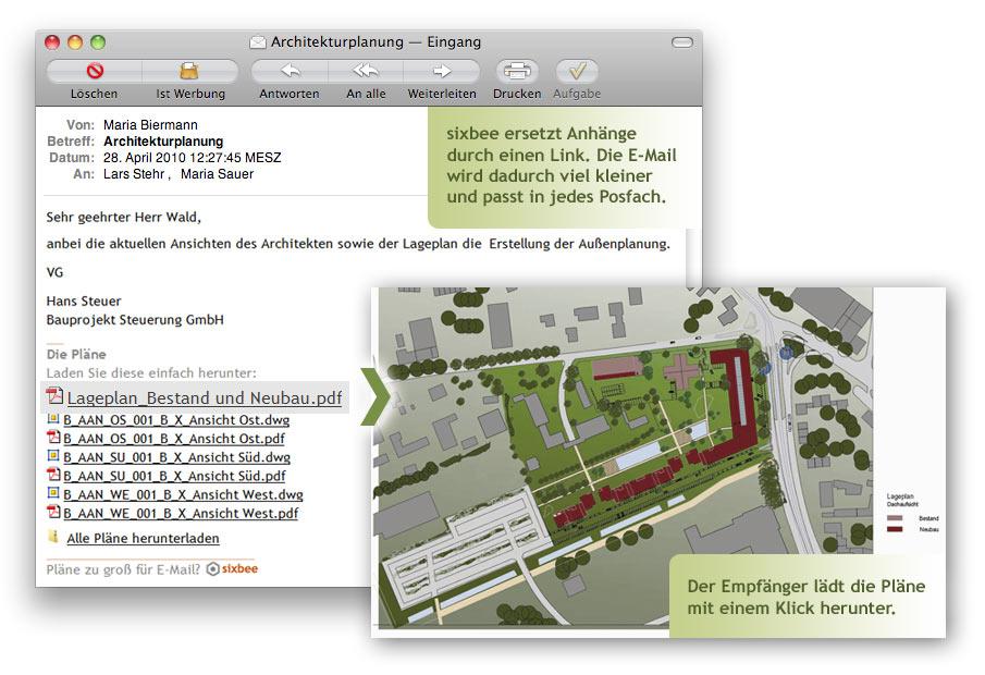 Screenshot: Aus der E-Mail heraus kann der Empfänger die Pläne bequem herunter laden