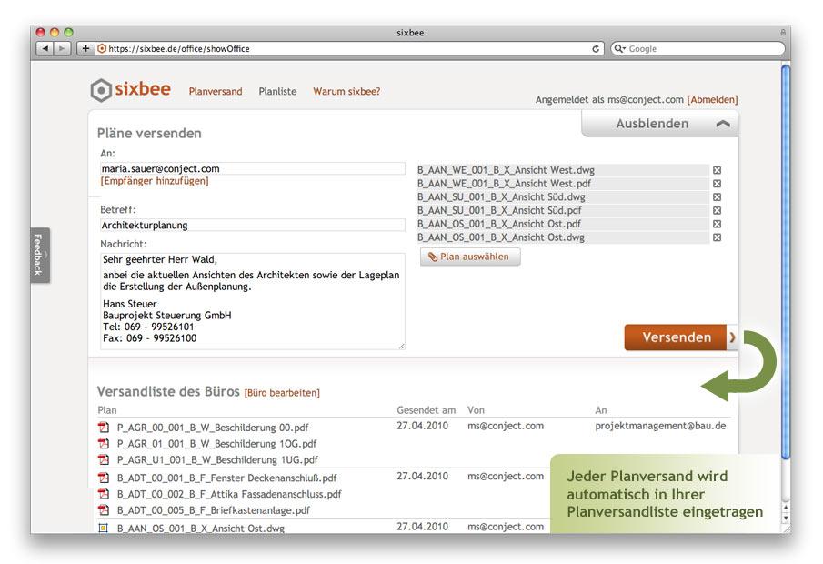 Screenshot: Planversand auf sixbee.de