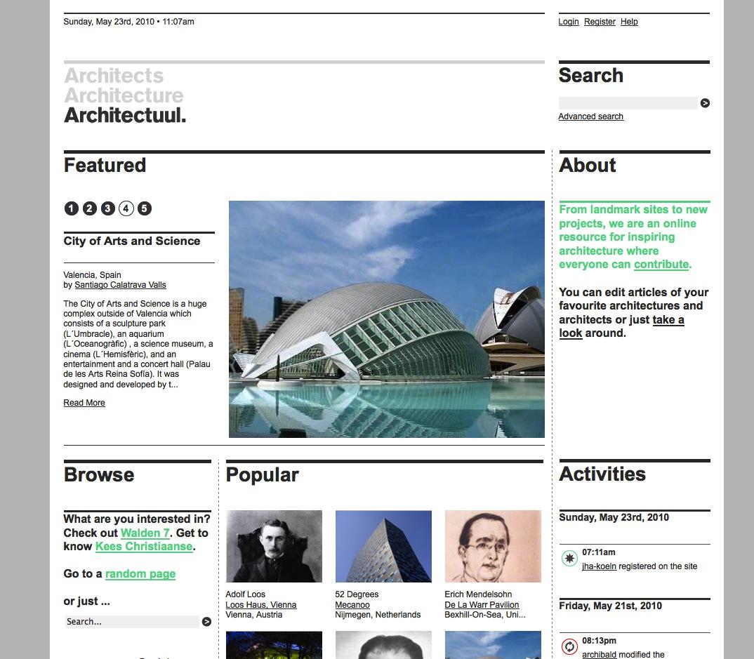 Screenshot der Startseite von architectuul.com